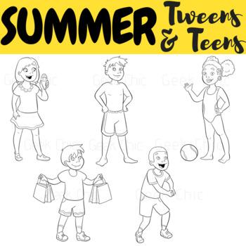 Summer Clipart Tweens & Teens (Summer Activities Clipart)