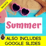 Summer Unit for Special Education with lesson plans