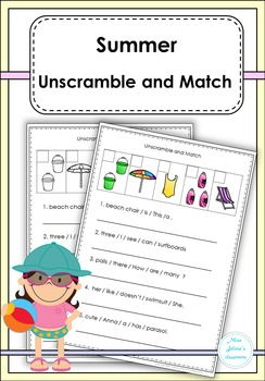 Summer Unscramble and Match