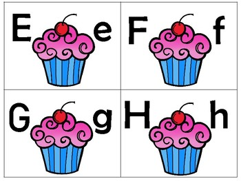 BIRTHDAY CUPCAKES/Uppercase to lowercase match puzzles