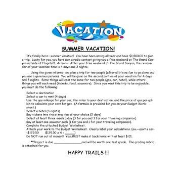 Summer Vacation: A Math Money Budget Activity!