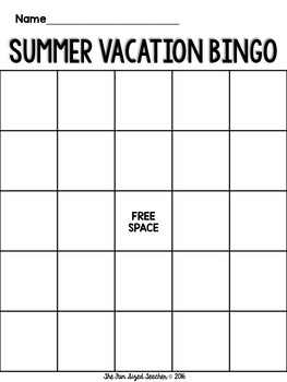 Summer Vacation Bingo