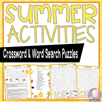 Summer Vacation Crossword Puzzle and Word Search Find Activities