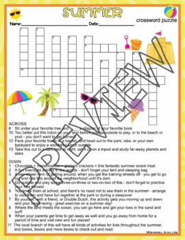 Summer Vacation Activities Summer Crossword Puzzle and ...