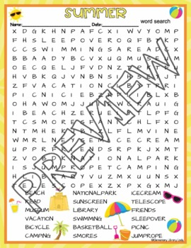 Summer Vacation Activities Summer Crossword Puzzle and Word Search Find