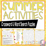 Summer Activities Summer Vacation Crossword Puzzle and Word Searches