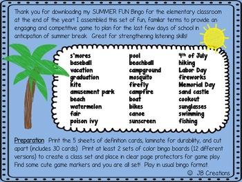Summer Vacation/End of Year Bingo Game