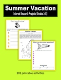 Summer Vacation Internet Research Projects (Grades 5-8)