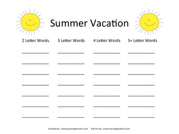 Summer Vacation Making Words
