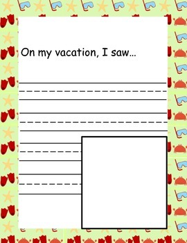 My Summer Vacation Memory Book -  A Back to School Writing Activity