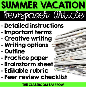 Summer Vacation Newspaper Article (Back to school/First day of school)