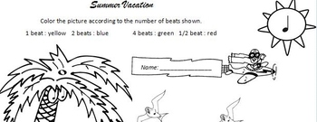 Summer Vacation Note Value Coloring
