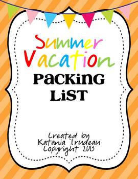 Summer Vacation Packing List FREEBIE
