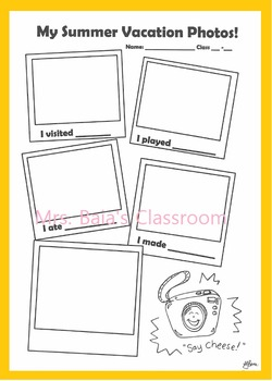 Summer Vacation Photos - ESL worksheet