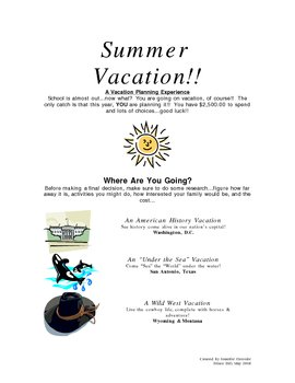 Summer Vacation: Planning with a Budget