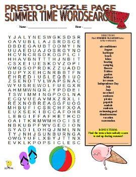 Summer Vacation Puzzle Page (Wordsearch and Criss-Cross)