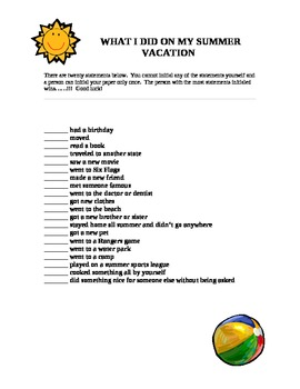 Summer Vacation Scavenger Hunt