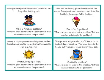 Vacation Social Skills and Problem Solving. A Back to School Ice breaker!