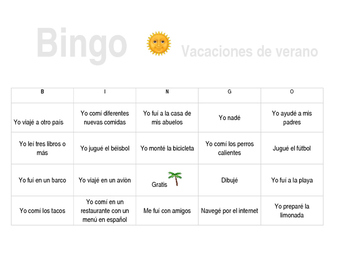 Summer Vacation Spanish Bingo September Past Tense Review