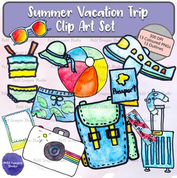 Summer Vacation Trip Clip Art Set Personal and Commercial Use