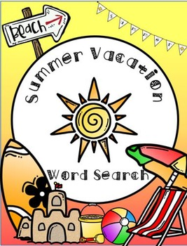 Summer Vacation Word Search with Answer Key