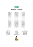 Summer Vacation Word Search