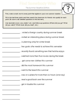 Summer Vacation Worksheets