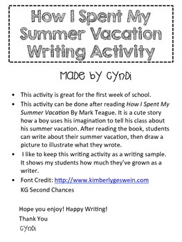 Summer Vacation Writing Activity