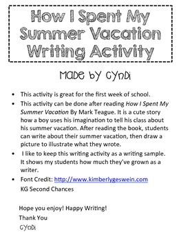Summer Vacation Writing Activity