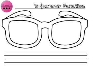 a1c28875679f Summer Sunglasses Writing Worksheets & Teaching Resources | TpT