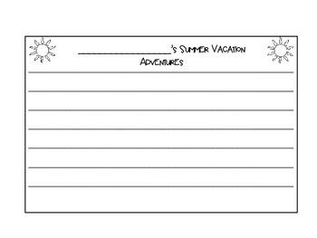 Summer Vacation Writing Craftivity *FREEBIE*