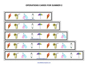 Summer Vacation operations cards prek primary math addition subtraction