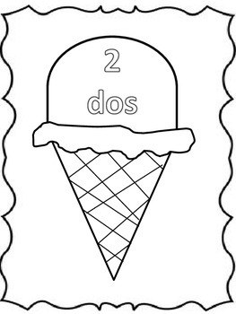 Summer Verano Spanish numbers dos ice cream helado