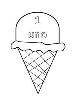 Summer Verano Spanish numbers uno ice cream helado
