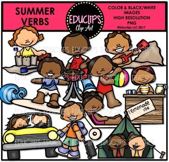 Summer Verbs Clip Art Bundle {Educlips Clipart}