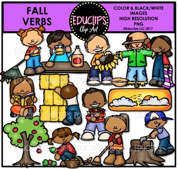 Fall/Autumn Verbs Clip Art Bundle {Educlips Clipart}