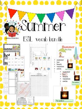Summer - Vocab Bundle and Literacy Centers - ESL