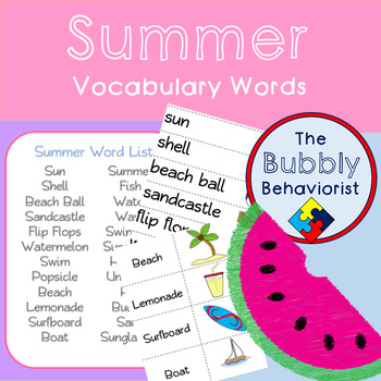 summer vocab special ed esy homeschool by the bubbly behaviorist