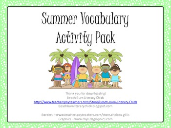 Summer Vocabulary Activity Pack - Common Core