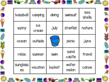 Summer Vocabulary Bingo Fun