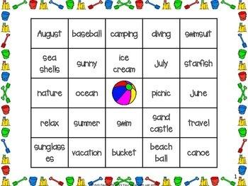 Summer Vocabulary Bingo Fun Freebie!