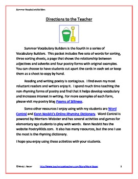 Summer Vocabulary Builders