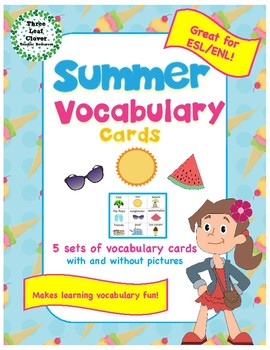 Summer Vocabulary Cards - Great for ESL/ENL