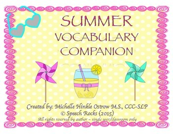 Summer Vocabulary Companion and Worksheets