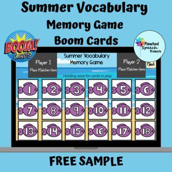 Summer Vocabulary Memory Game Boom Cards™ Speech Therapy FREE SAMPLE