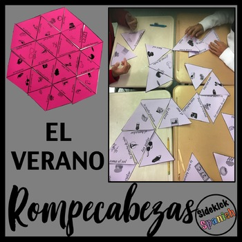 Summer Vocabulary Puzzle & Matching Activity in Spanish
