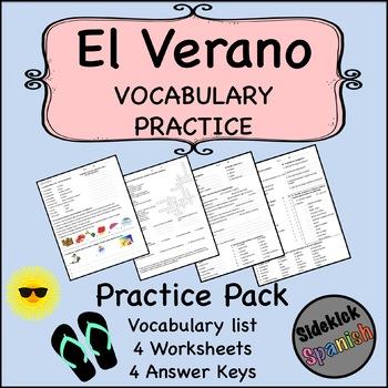 Summer Vocabulary Practice Worksheets in Spanish (El Verano)