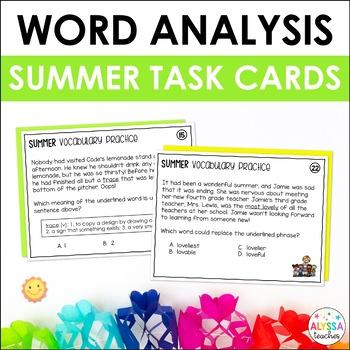 Summer Vocabulary Skills Task Cards