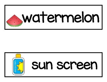 Summer Vocabulary Word Cards