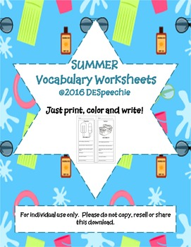 Summer Vocabulary Worksheets